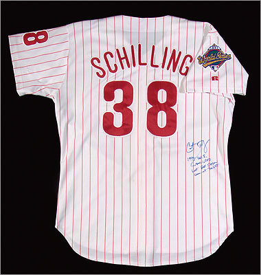 Philadelphia Phillies professional model World Series home jersey from 1993, autographed by Curt Schilling. $4,000 - $6,000