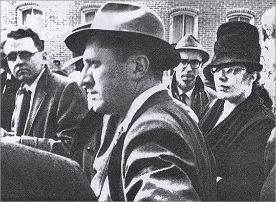 The assault took 30 seconds: Reeb (far left, in glasses) traveled from Boston to march in Selma on March 9, 1965. That night, after Reeb and three other ministers were leaving Walker's Cafe, a group of white men attacked them. One of them smashed Reeb's head with a club above his left ear, fracturing his skull. He died two days later.