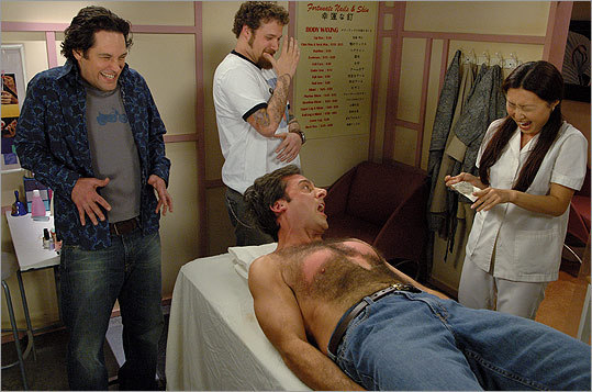 'The 40-year-old Virgin' (2005): Andy (Carell) falls victim to a waxing inspired by his friends, from left, David (Paul Rudd) and Cal (Seth Rogan).