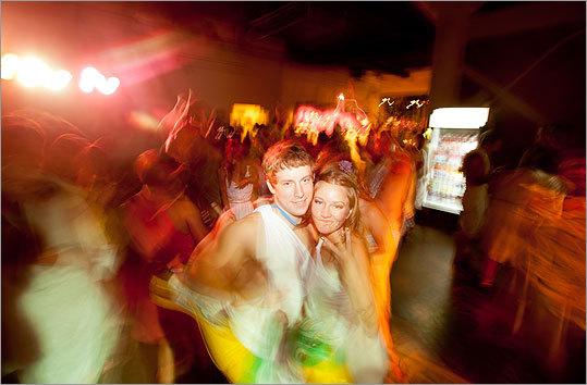 Wyatt Krueger (left) and Becca Mahl, both of Dedham, out on the dance floor.