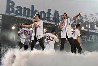 The New Kids on the Block performed with the Backstreet Boys at Fenway Park on June 11, 2011.