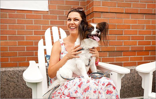 Norman, a papillon, sits in the lap of Bethany Tripp, his owner. 'I think he is taking it all in right now,' Tripp explained about Norman's initial reluctance to play.