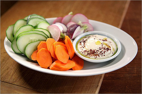 Crudites with lemon-tahini dressing Make a light, lemony tahini dressing that looks lovely drizzled with good olive oil and sprinkled with sumac (or paprika). Choose 3 or 4 of the veggies suggested below, or whatever else looks good at your market. Full recipe