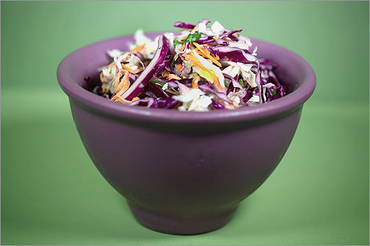 Cabbage and fennel slaw The perfect tangy topper for your sandwich, fennel and cabbage slaw is a refreshing change from traditional slaw. Full recipe
