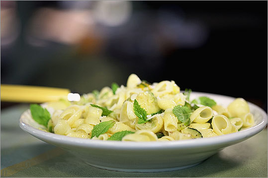 Zucchini and pasta You can use any short pasta for this dish, which is surprisingly flavorful. Sauteed zucchini, mashed when tender, makes a simple sauce. If you like, add a spoonful of cream or milk, 1/4 cup toasted pine nuts, or 1 cup peas when the pasta and zucchini are tossed together. Full recipe