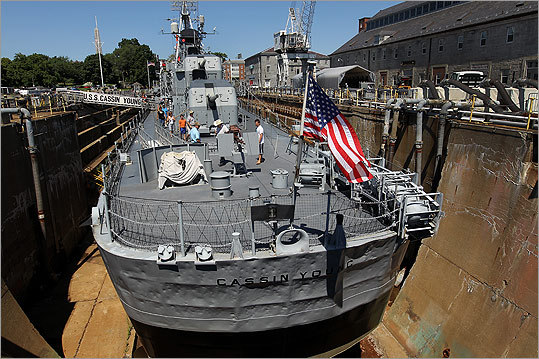 A SHIP OUT OF WATER The USS Cassin Young sits in Dry Dock 1 at the Charlestown Navy Yard.