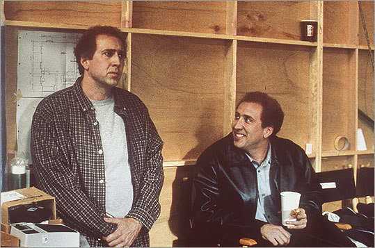 In Charlie Kaufman's creative 2002 film 'Adaptation,' the screenwriter turns the film into a story about his struggle to translate a non-fiction book to the big screen. In the process, his character grudgingly requests help from his free-spirited, directionless twin brother Donald (right, also played by Nicolas Cage). The film was nominated for four Academy Awards, including Best Writing, Adapted Screenplay for Charlie and Donald Kaufman. Interestingly (but not surprisingly), Donald doesn't really exist.