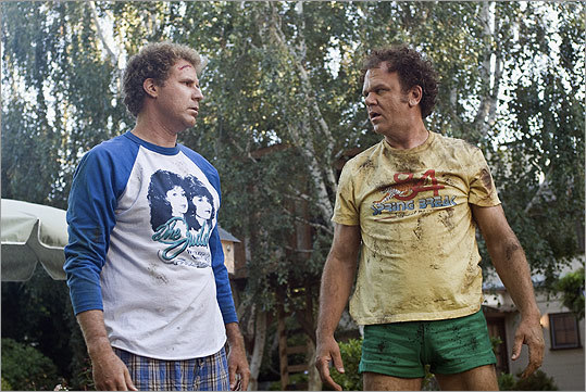In the 2008 comedy 'Step Brothers,' Will Ferrell (left) and John C. Reilly have a field day as two middle-aged men living with their single parents who are forced to share a house after the parents marry. They fight constantly and finally knock each other unconscious, but after Dale (Reilly) punches Brendan's cocky brother Derek (Adam Scott) out of a treehouse, they unite as 'best friends.'