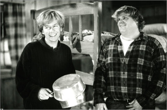 The late Chris Farley (right, with David Spade) gave new meaning to the term 'title role' in his take on Mike Donnelly in the 1996 comedy 'Black Sheep.' His brother Al (played by Tim Matheson) is on the campaign trail for the governorship of Washington, and the embarrassment-prone Mike desperately wants to contribute. However, his brothers' aides view him as a liability and attempt to keep him out of the spotlight with the assistance of an aide (Spade). Of course, that only works for so long.