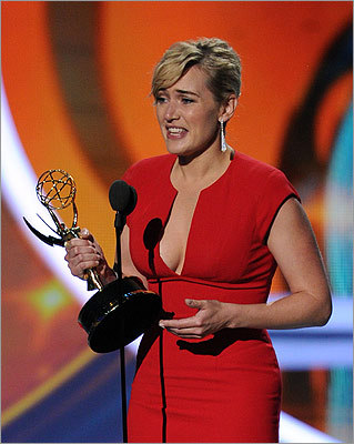 Kate Winslet of 'Mildred Pierce' said she didn't expect to win the outstanding lead actress in a miniseries or movie award.