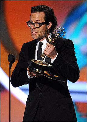 Guy Pearce of 'Mildred Pierce' mirrored Winslet by winning outstanding supporting actor in a miniseries or movie.