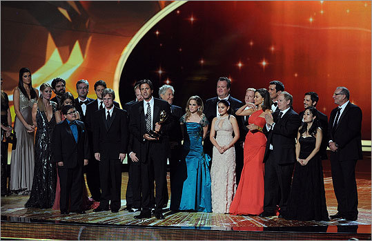 Wrapping up a highly-successful night for the show, the cast and crew of 'Modern Family' accepted the award for outstanding comedy series award, its fifth prize of the night.
