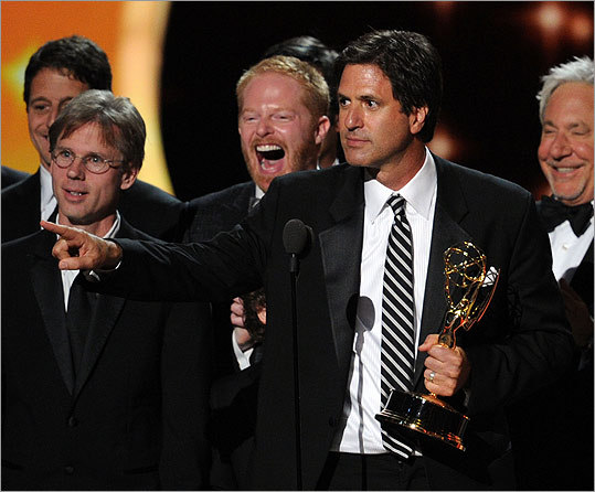 The 63d Emmy Awards were held Sept. 18 in Los Angeles at the Nokia Theatre. Take a look at some of the highlights and wins. During his speech for outstanding comedy series, writer Steven Levitan of 'Modern Family' joked that the show had taught acceptance -- for an old man marrying a hot young woman. He added that it appeared many people in the room had taken the lesson to heart.