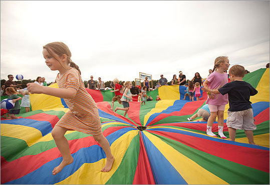 Bouncing around on the parachute.
