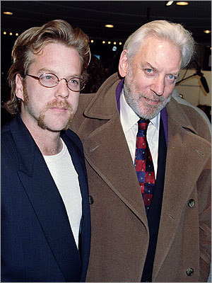 Although Kiefer Sutherland claims he didn't know his father was an actor until he reached 18, he still inherited Donald's talent. Kiefer made his debut alongside his father in 1983's 'Max Dugan Returns' and then reunited with his old man onscreen in the star-studded 1996 thriller 'A Time to Kill.' Pictured, from left: Kiefer and his father in 1995 at the premiere of 'Outbreak.'