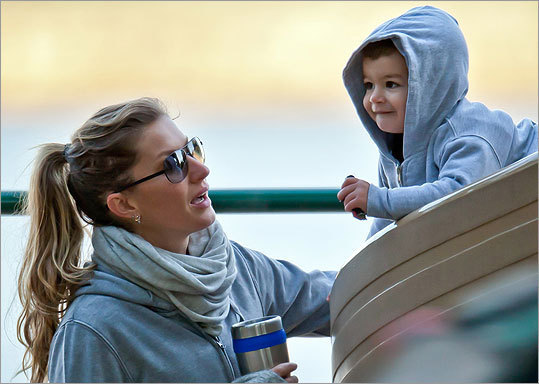Supermodel mom Gisele Bundchen frolicked with son Benjamin at a playground in Boston on Oct. 6, and snapped a few pics of the pigskin progeny as he made his way down the slide.