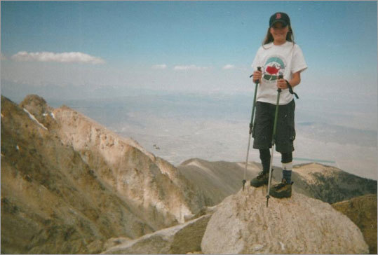 With the help of her hiking poles, Kristen Kelliher reached the top of Boundary Peak in Nevada on July 26, 2006.