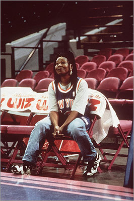 Eddie This Whoopi Goldberg vehicle has good news for any fan who has ever thought they should be coach: you probably should. Goldberg plays a New York Knicks super-fan who is tapped, mostly as a publicity stunt, to helm the struggling squad during another losing season. Surprisingly, the new coach starts to get through to the players, including a disgruntled star (played by late NBA player Malik Sealy). Former Celtic Rick Fox plays a Knick, alongside cameos from numerous NBA stars including Gary Payton, Mitch Richmond, and Dennis Rodman.