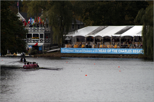 Crews worked their way past the Cambridge Boat Club and the Directors' Tent, where boat club members and Head of the Charles Sponsors could enjoy a prime view of the races.