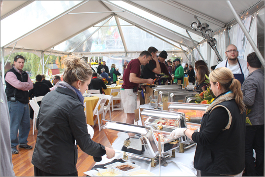Sponsors of the Head of the Charles Regatta got to enjoy catering by the Boston restaurant Eastern Standard as they watched the race from the directors' tent.