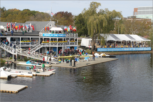 A view of the Cambridge Boat Club and the Head of the Charles directors' tent on Saturday. Club members and event sponsors were admitted for a special view of the races.
