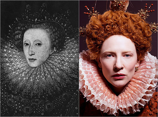 "Subject : Queen Elizabeth I (left, in 1585) Actress and film : Cate Blanchett in ""Elizabeth"" (2007) Does Blanchett look like Queen Elizabeth I?"
