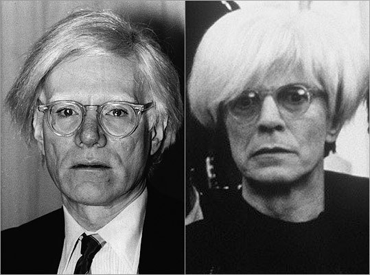 "Subject : Andy Warhol (left, in 1980) Actor and film : David Bowie in ""Basquiat"" (1996) Does Bowie look like Warhol?"