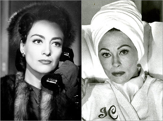 "Subject : Joan Crawford (left, in 1945) Actress and film : Faye Dunaway in ""Mommie Dearest"" (1981) Does Dunaway look like Crawford?"