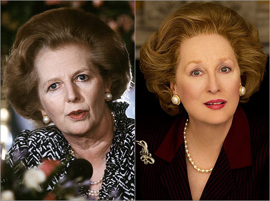 "Subject : Margaret Thatcher (left, in 1986) Actress and film : Meryl Streep in ""The Iron Lady"" (2012) Does Streep look like Thatcher?"