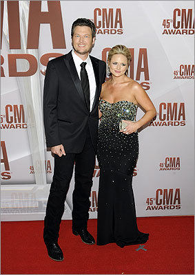 Newlyweds Blake Shelton and Miranda Lambert. Shelton opened the show with his updated rendition of Kenny Loggins' 'Footloose.'