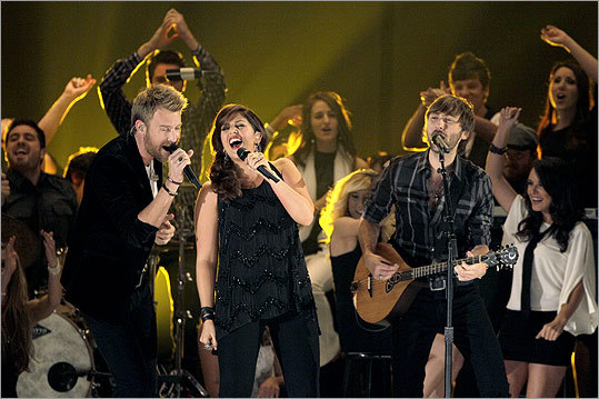 From left: Charles Kelley, Hillary Scott, and Dave Haywood of Lady Antebellum performed shortly after winning vocal group of the year.
