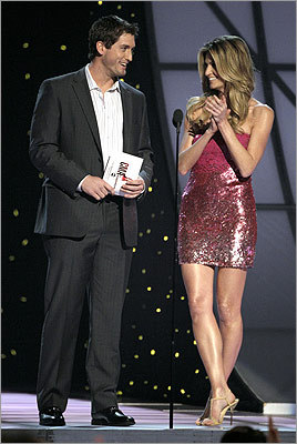 World Series MVP David Freese and ESPN reporter Erin Andrews presented the album of the year award to Jason Aldean.