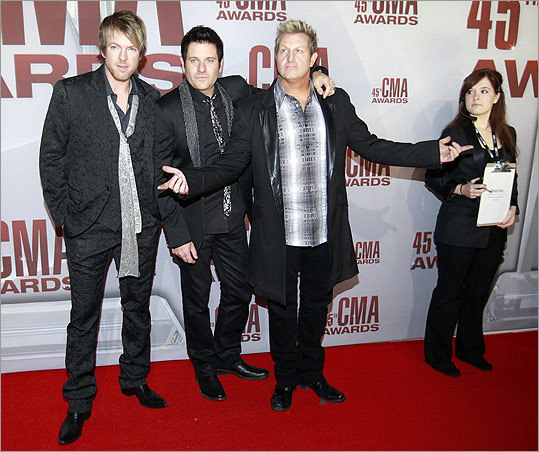Country music band Rascal Flatts took in the red carpet scene.