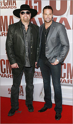 Country music duo Montgomery Gentry, Eddie Montgomery (left), and Troy Gentry.