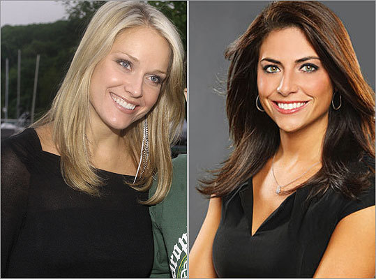 Out: Heidi Watney; In: Jenny Dell After serving as an in-game reporter on NESN's Red Sox broadcasts since 2008, Watney (pictured, left) has departed the network to become a sideline reporter on the Lakers' telecasts on Time Warner. Jenny Dell (right) was chosen to replace Watney. Dell, a University of Massachusetts graduate, most recently worked at ESPN, where she had both on and off-camera duties.