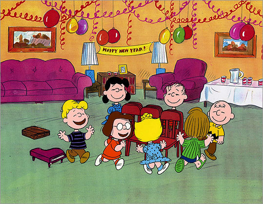 "Even young Charlie Brown gets in on the action. In ""Happy New Year, Charlie Brown,"" the title character is attempting to read Leo Tolstoy's 'War and Peace' for a book report, but he falls asleep and misses the countdown. However, he still gets a smooch on the cheek from Marcie when she and Peppermint Patty show up at his house after midnight. Cue the 'aww' soundtrack."