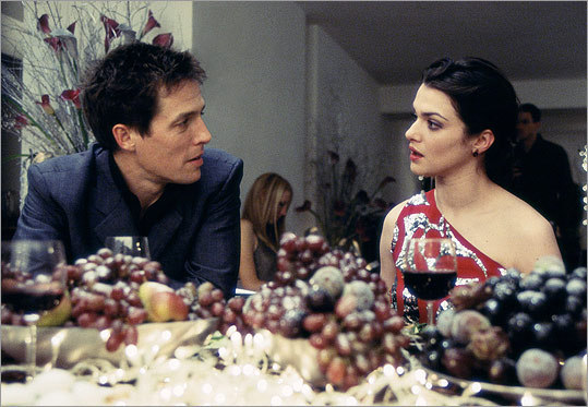 Will Freeman (Hugh Grant) may be an overgrown child through much of 2002's 'About a Boy,' but all it takes for him to grow up is a kiss from a good woman. Namely, Rachel (Rachel Weisz), whom he meets at a New Year's Eve party, falls for, fibs to about having a son, and then kisses at midnight. Well, he still has some growing up to do.