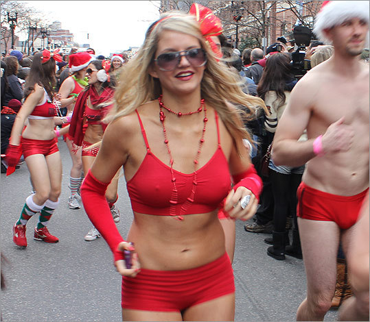 Lady in red, Lauren Grubert, was off to the races on Boylston Street.