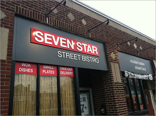 "Seven Star Street Bistro Before closing in the late '90s, Joseph Lin's Seven Star Mandarin House had a serious following in Newton. Now, a new Seven Star has opened in Roslindale, run by Lin and son Christopher, who attended cooking school in San Francisco. The update specializes in xiao chi, or ""small bites"" – Taiwanese-style won tons, braised pork belly buns, sticky-sweet ribs in an orange-soy glaze. You'll also find five-flavor chicken, Hunan sesame beef, and Sichuan spiced shrimp. 153-155 Belgrade Avenue, Roslindale, 617-325-8686, sevenstarstreetbistro.com"