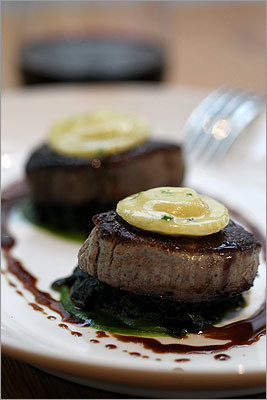 I rarely order filet mignon. If I'm going to eat steak, I'm going to do it really carnivorously, with a cut I have to gnash my teeth over. But Catalyst's beef tournedos , essentially a smaller version of filet mignon, won me over in a big way. The meat is incredibly tender, but it still manages to have plenty of flavor, augmented by garlic-parsley sauce, Bordelaise sauce, rainbow chard, and taleggio ravioli. 300 Technology Square, Cambridge. 617-576-3000. www.catalystrestaurant.com