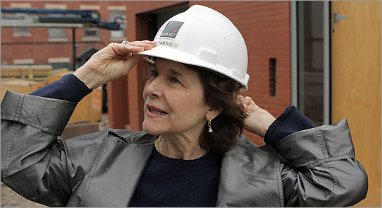Anne Hawley took members of the news media on a tour of the construction site.