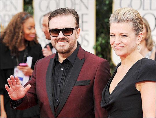 Ricky Gervais and Jane Fallon arrived at the 69th Annual Golden Globe Awards at the Beverly Hilton Hotel.