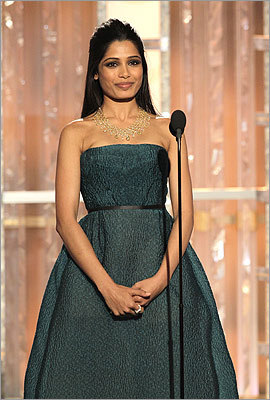 'Rise of the Planet of the Apes' actress Freida Pinto, who rose to fame with 'Slumdog Millionaire,' introduced a clip of 'Midnight in Paris.'