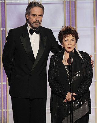 'Borgias' actor Jeremy Irons (left), who was bested for lead actor in a TV drama, appeared with Dr. Aida Takla-O'Reilly from the Hollywood Foreign Press Association.