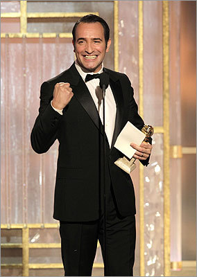 Jean Dujardin was pumped up after winning best actor for a motion picture, comedy or musical for 'The Artist.' The film, which led all nominees, won three awards.