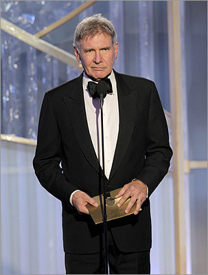 Harrison Ford presented the award for best motion picture, comedy or musical, to 'The Descendants.'