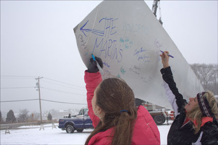 The Martins family made sure they signed the very tip of the turbine blade.