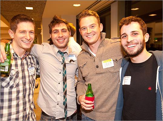 From left, Mike Miller (@socialete), Nick Mathews (@uber_bos), and Matt Marra @uber_bos), all of Somerville, with Spencer Bramson (@ssbramson) of Boston.