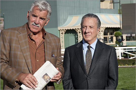 Dennis Farina (left) plays ex-con Dustin Hoffman's driver, bodyguard, and confidant in 'Luck,' David Milch's new series for HBO.