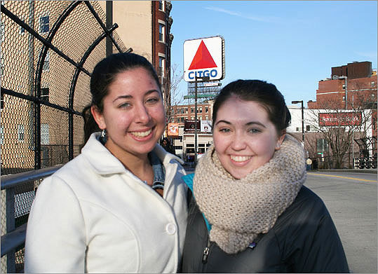 Emmanuel College freshman Katie Constantine (left) will be going to her family's house on Cape Cod to catch the game, where it's their superstition to refrain from saying anything bad about the game. And if someone says something good? 'They have to knock on wood,' Constantine said. Amy Wade (right), a freshman at Boston University, plans to watch the Super Bowl with her entire floor in the Warren Towers dorm.